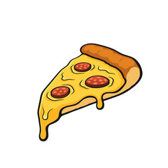 Vector illustration. Pizza slice with melted cheese and pepperoni. Image in cartoon style with contour. Unhealthy food. Isolated on white background