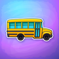Vector illustration. Yellow toy school bus. Passenger transport for transportation of children pupil to school. Back to school. Sticker in flat style with contour. Isolated on colorful background