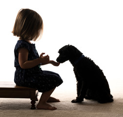 Silhouette of toddler feeding her puppy