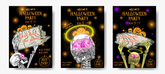 Set of Halloween holidays hand drawn invitation poster or greeting card with handwritten words and phrases calligraphy greetings. Even saints can dance. Vector.