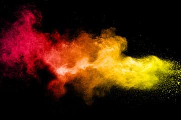 Colored powder splash cloud isolated on black background