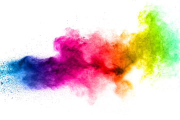 Multicolored powder explosion on white background. Fotoväggar