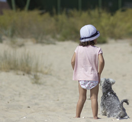 little girl and doggy