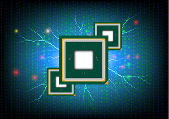 Concept and idea computer chip with digital background. Vector EPS10