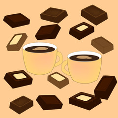 Coffee with chocolate. Vector illustration.