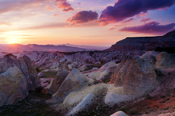 Red Valley in Cappadocia near Goreme on sunset