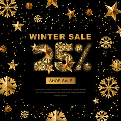 Winter sale 25 percent off, vector banner with 3d gold stars and snowflakes. Paper cut style 25 discount, golden black background. Layout for holiday poster, labels, flyers and shopping.