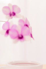 Coffee cup and beautiful purple orchid flowers on wood table over soft white background,pastel filter