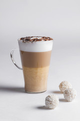 latte coffee with candies raffaello