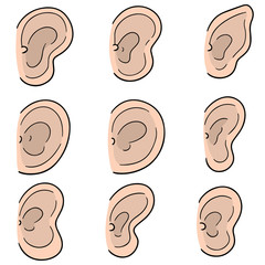 vector set of ear