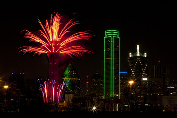 Fireworks in downtown Dallas Texas on New Year Eve 2016-17 Night