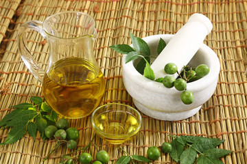 Ayurvedic Oil in Glass Bottle or Herbal Hair Oil with Herbs