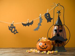 Halloween background with decor jack o lantern