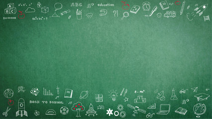 Green school teacher's chalkboard background with doodle and blank copyspace for childhood imagination and education success concept