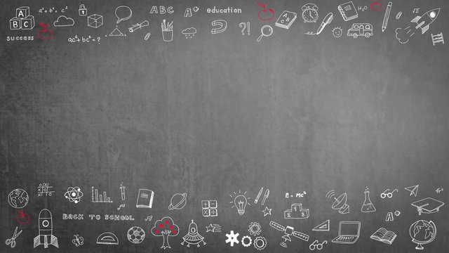 Doodle on black school teacher's chalkboard background with blank copyspace for childhood imagination and education success concept