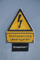 sign, caution high voltage, risk of life