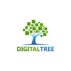 Tree Digital Logo Template Design