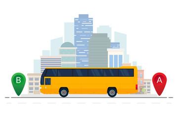 Orange bus vehicle traveling route. Vector public bus on city background. Vector illustration. Flat design. ESP10.
