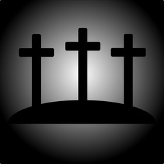 Simple calvary icon with three crosses vector EPS 10