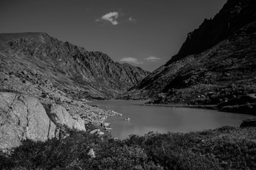 Black and white photo mountain range with valley, mountain lakes and river, national park in Altai republic, Siberia, Russia