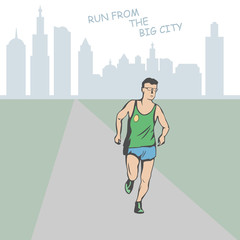 male athlete runs along the road. Far on the horizon is the silhouette of a large city.