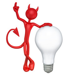 The Original 3D Character Devil  Illustration With A Light Bulb