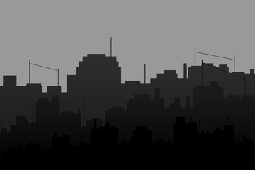 black and white urban city background.vector and illustration