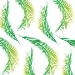 Palm Leaves Pattern - Green and Yellow