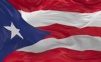 Flag of the Puerto Rico waving in the wind 3d render