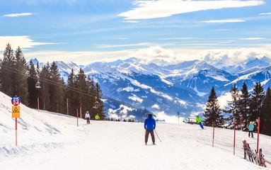 On the slopes of the ski resort  Hopfgarten, Tyrol, Austria