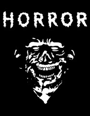 Spooky zombie head with torn face. Black and white colors. Vector illustration.