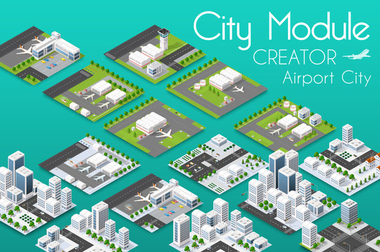City module creator isometric airport of urban infrastructure business. Vector building illustration of skyscraper and collection of urban elements architecture, home, construction, block and park