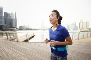 Woman Running at Marina Bay Sands