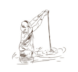 Hand drawn sketch of Woman dressed in a red sari carrying out a religious ceremony whilst standing in the River Ganges on one of the many sacred ghats at Varanasi in India in vector.