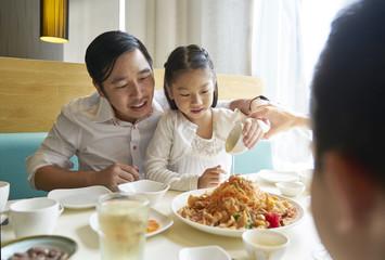 Family bonding in the restaurant