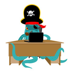 Web pirate Octopus and laptop. poulpe internet hacker and PC. devilfish buccaneer and computer. Eye patch and smoking pipe. pirates cap. Bones and Skull. See animal filibuster