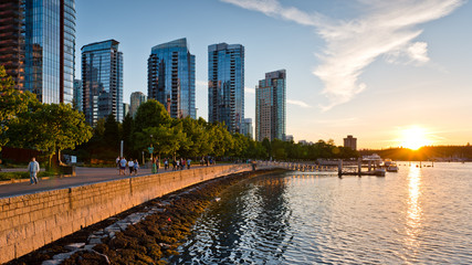 Coal Harbour Vancouver at sunset Fotomurales