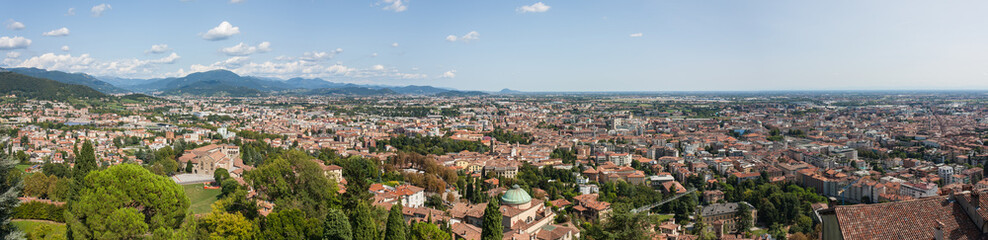 Bergamo, Italy. Landscape on the new city (downtown) from the old fortress located on the top of the hill