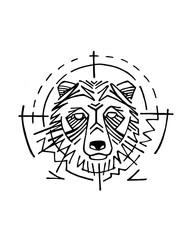 Bear head vector hand drawn illustration or drawing
