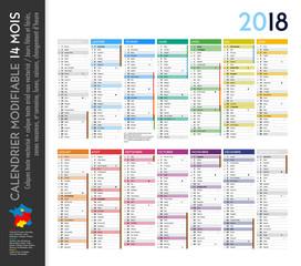 Calendrier 2018 sur 14 mois MODIFIABLE avec calques textes vectorisés et non vectorisés / Calendrier scolaire complet