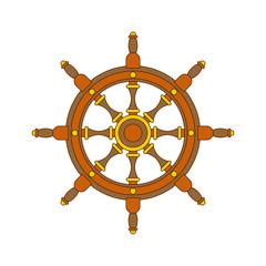 Handwheel isolated. Rudderl ship on white background