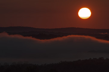A morning sun over the foggy valleys near Heflin, Alabama, USA
