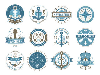 Nautical logos templates set. Vector object and icons. Marine labels, sea badges, anchor logo design, graphic emblems. Anchor and ship silhouettes. Boat, anchor, lighthouse, handwheel symbols.