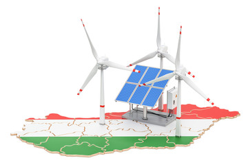 Renewable energy and sustainable development in Hungary, concept. 3D rendering
