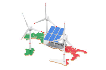 Renewable energy and sustainable development in Italy, concept. 3D rendering