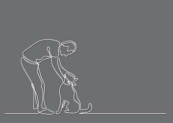 continuous line drawing of man petting dog