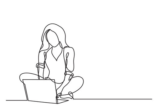 continuous line drawing of woman with laptop