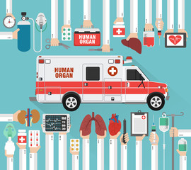 Human organ for transplantation car design flat.Vector illustration