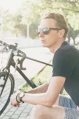 Handsome cyclist man.