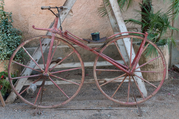 old bicycle with iron wheels